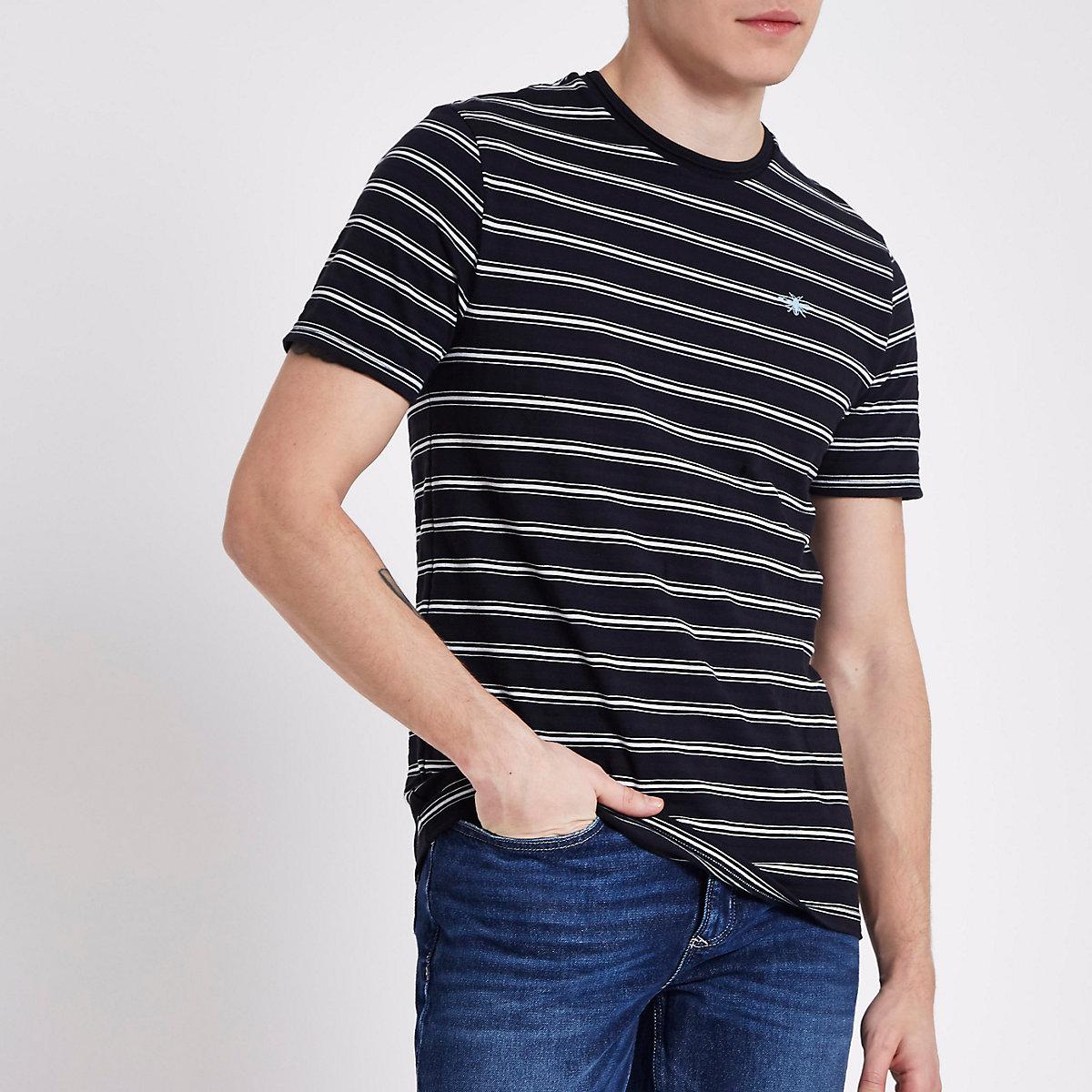 Navy slim fit stripe crew neck T-shirt