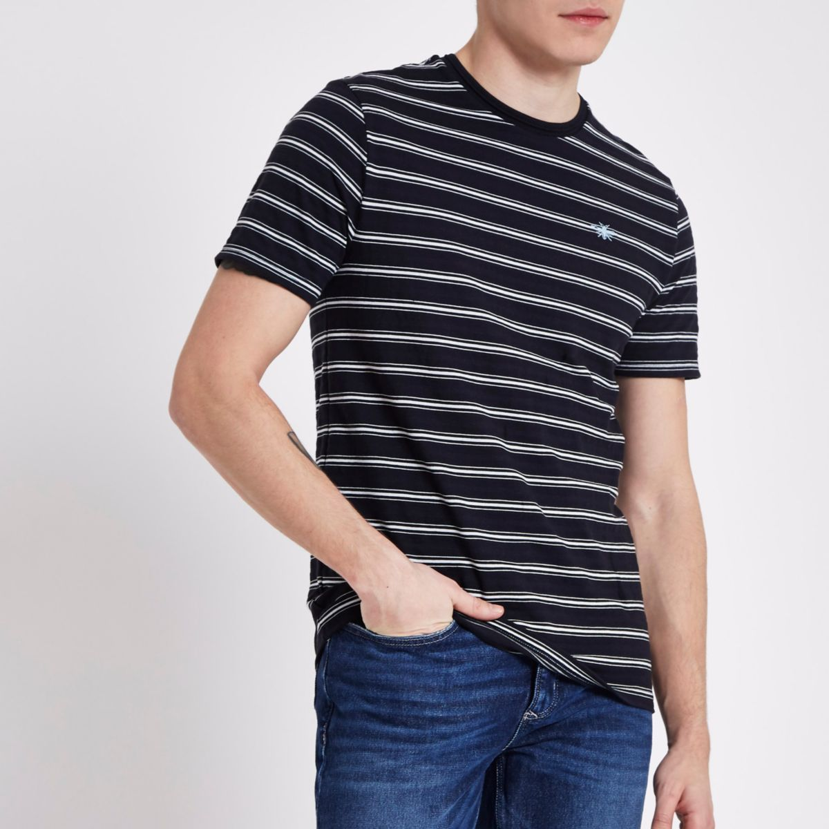 Navy slim fit stripe crew neck T-shirt