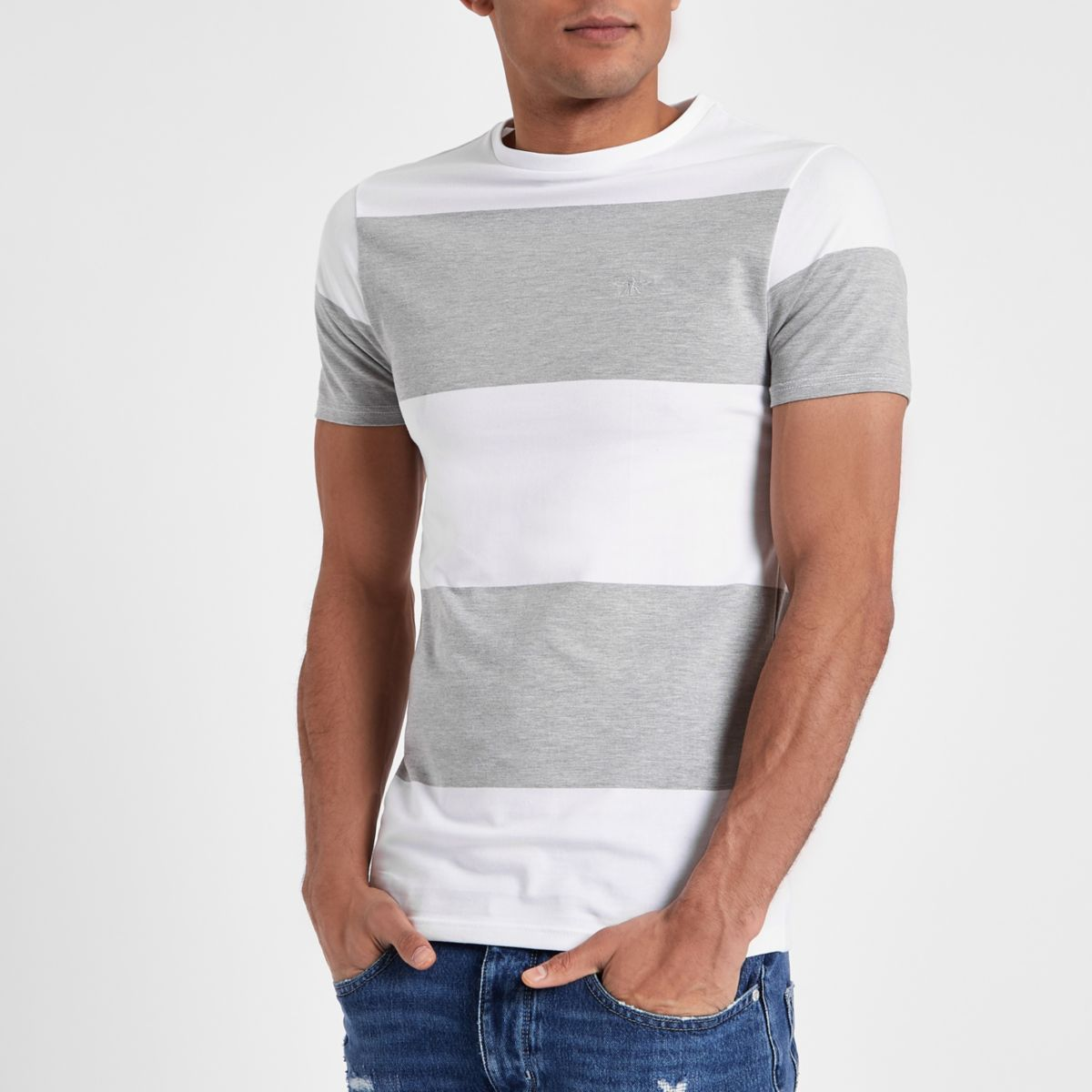 Grey marl color block muscle fit T-shirt