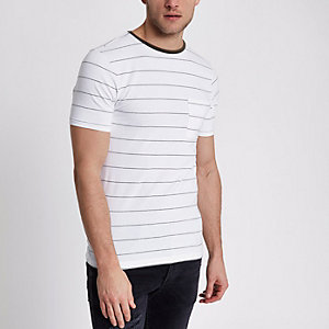 White muscle fit stripe crew neck T-shirt