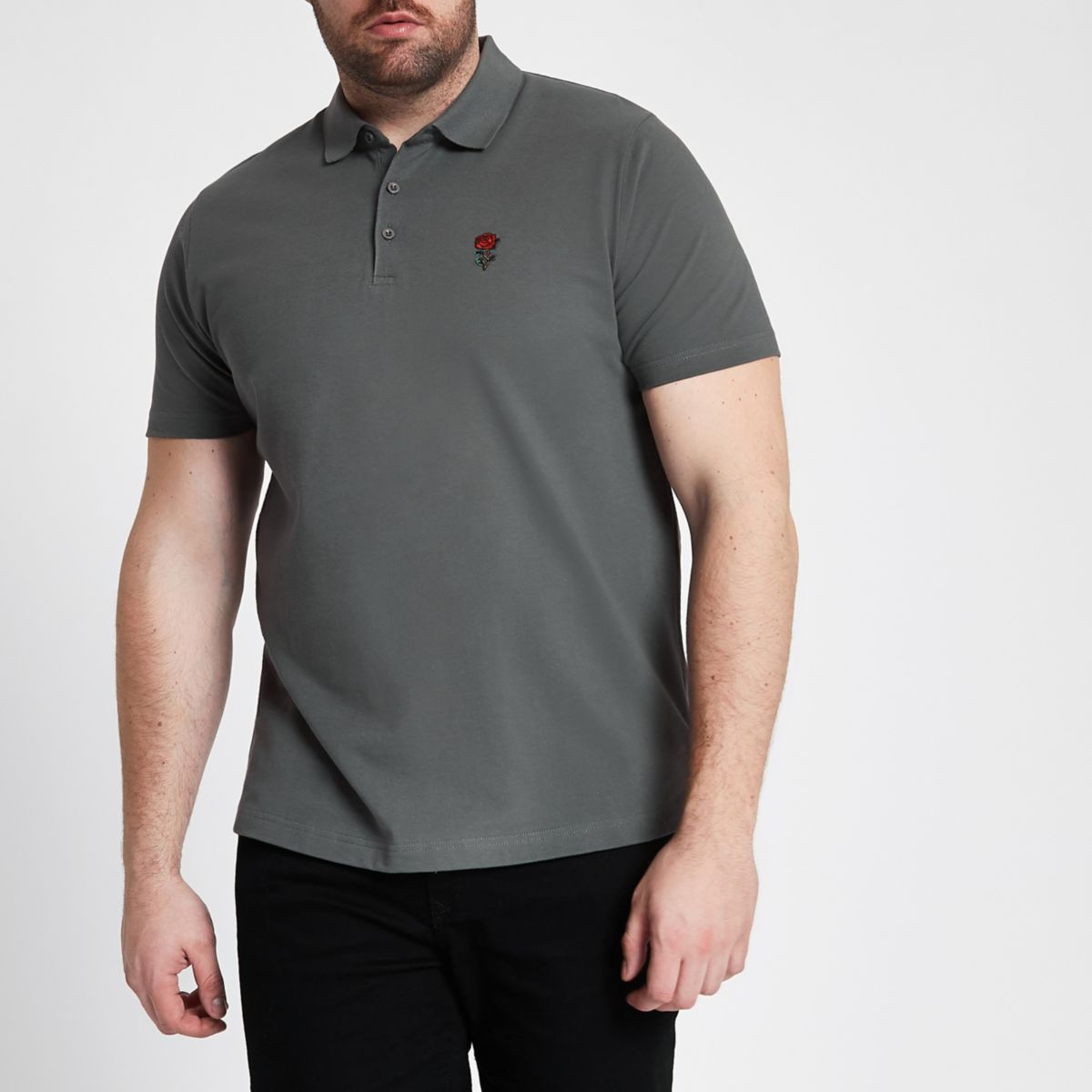 Big and Tall dark grey rose polo shirt