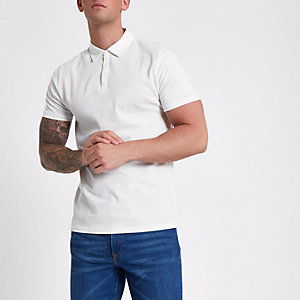 Ecru slim-fit poloshirt met wafeldessin