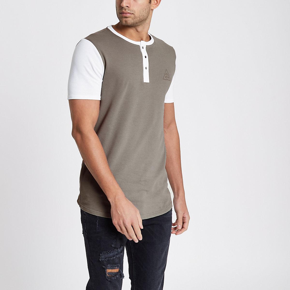 Brown pique muscle longline grandad T-shirt