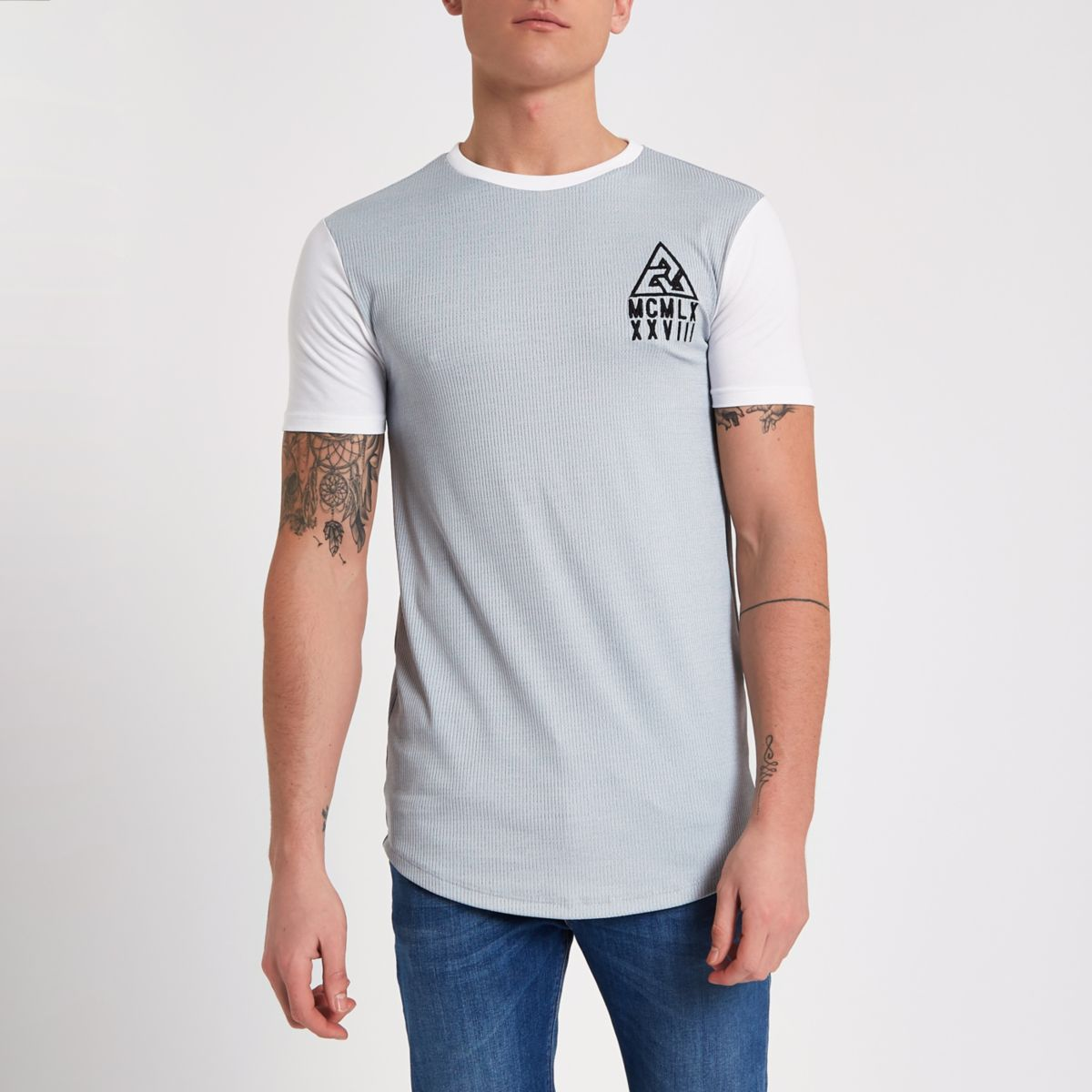 Blue muscle fit rib crew neck T-shirt
