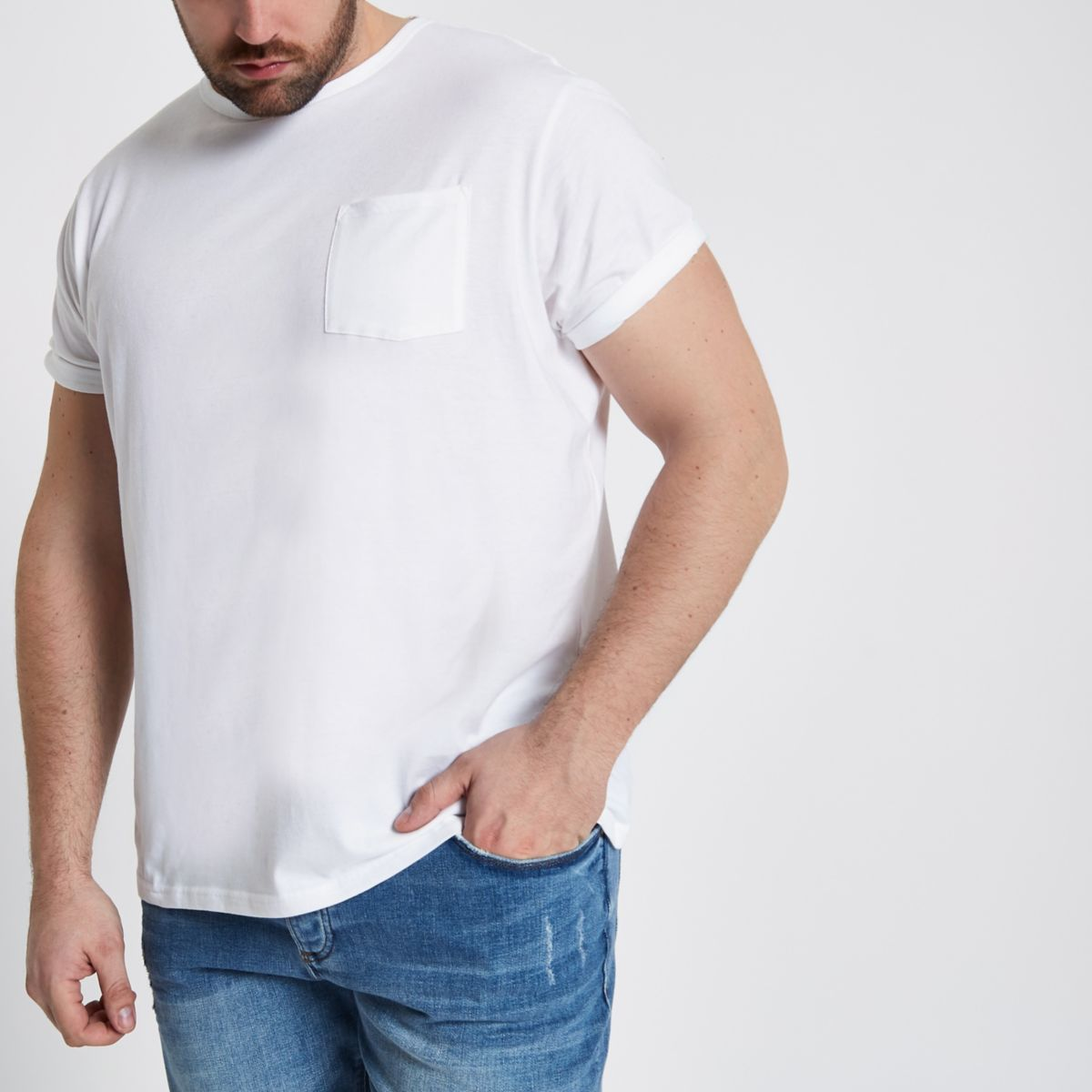 Big and Tall white crew pocket T-shirt