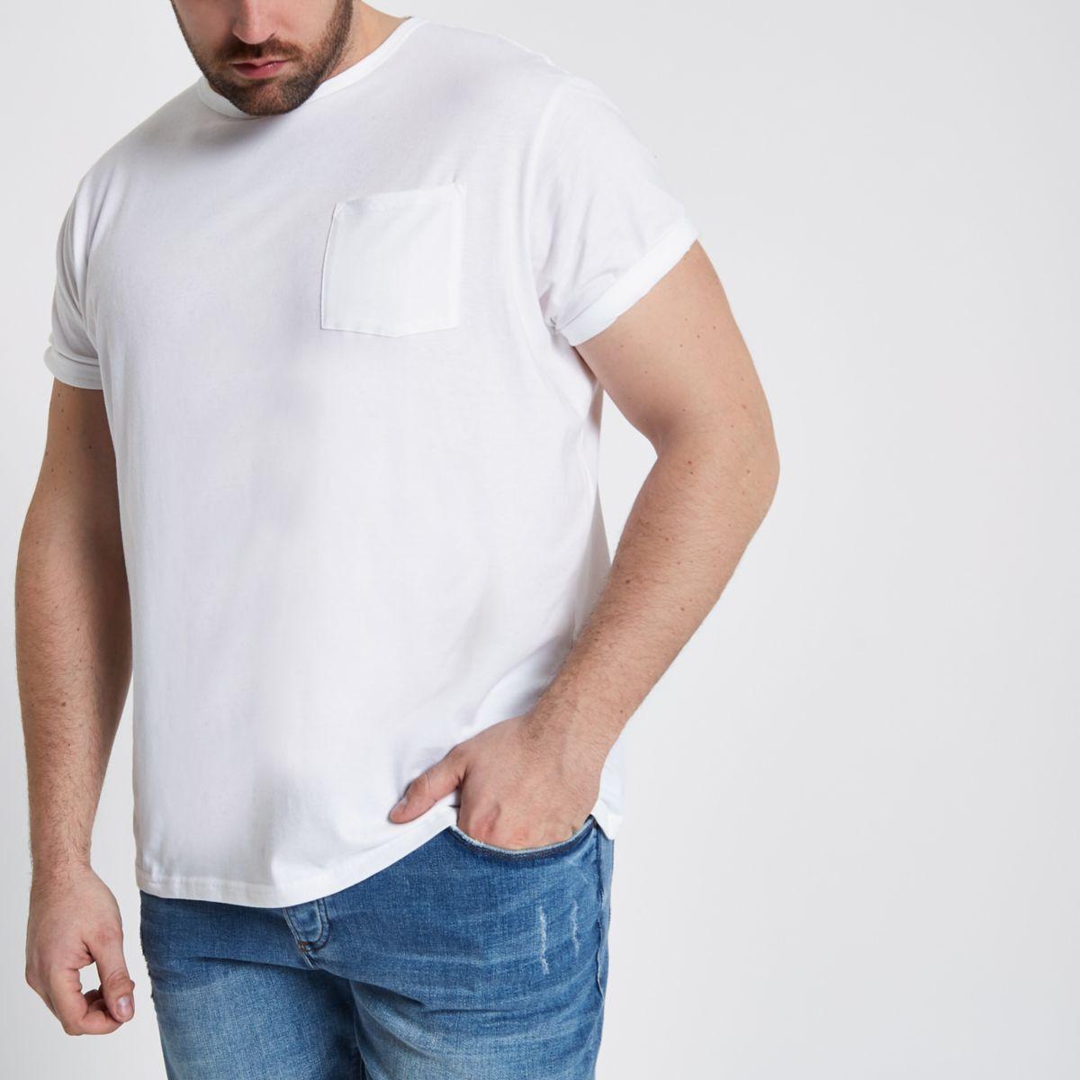 Big & Tall – T-shirt ras-de-cou blanc à poche