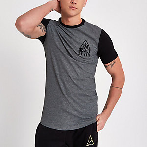 Grijs geribbeld aansluitend T-shirt met contrasterende mouwen