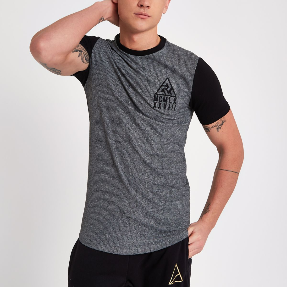 Grey rib muscle fit contrast sleeve T-shirt