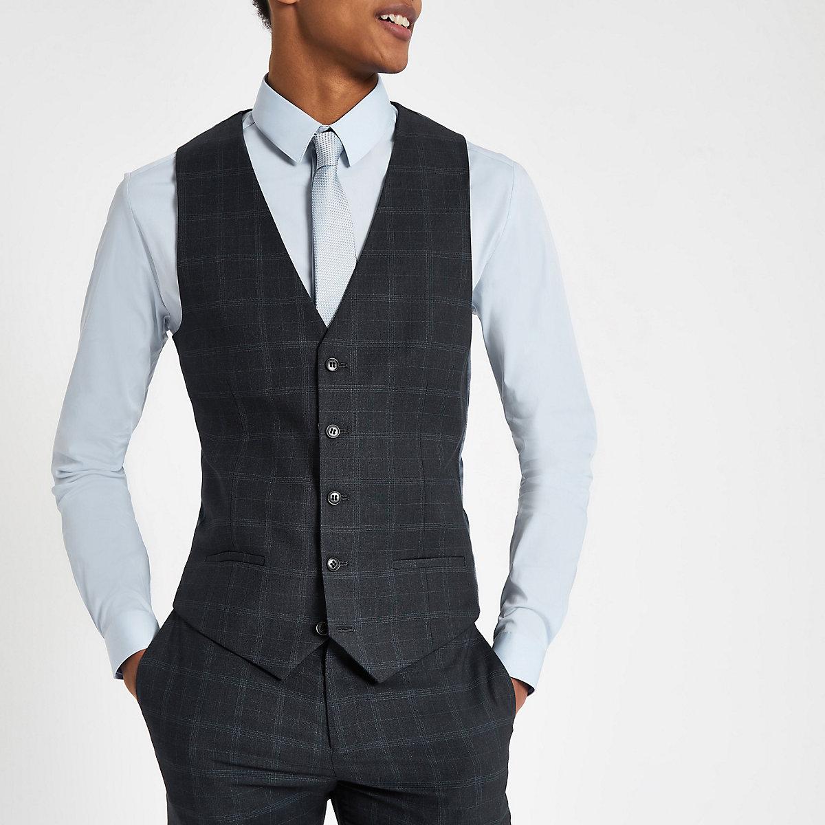 Navy Check Suit Vest Vests Suits Men