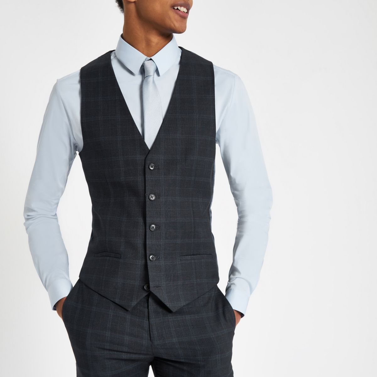 Navy check print suit vest