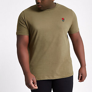 Big and Tall dark green embroidered T-shirt