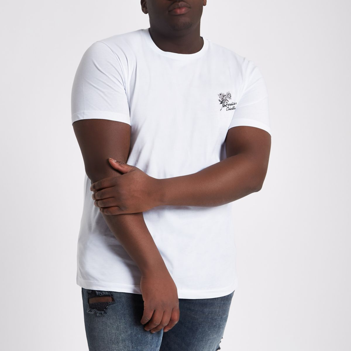 Big and Tall white 'paradise' T-shirt