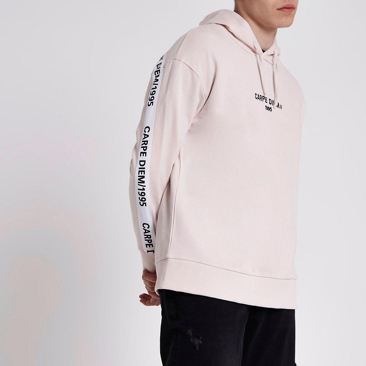 Pink 'carpe diem' print hoodie