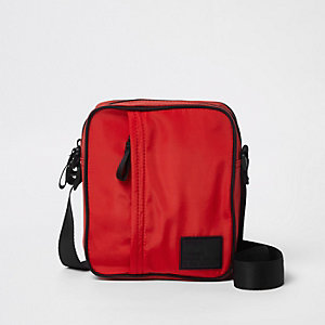 Red cross body mini messenger bag