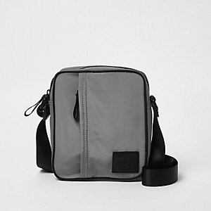 Grey cross body mini messenger