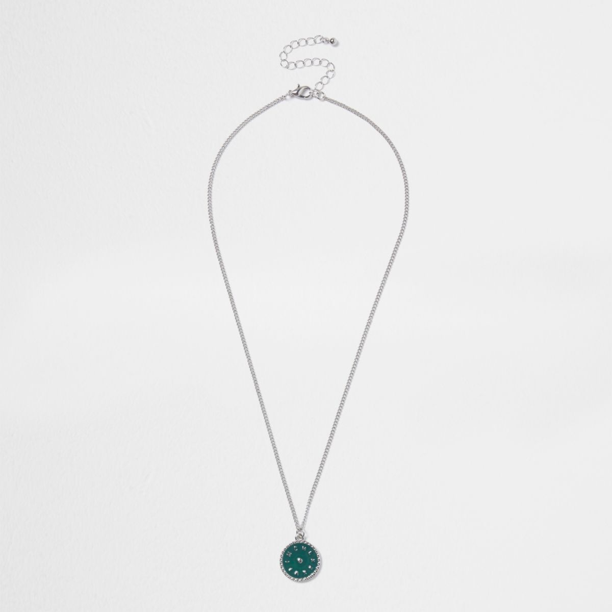 Silver tone green disc pendant necklace