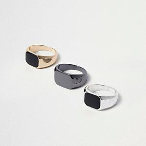 Schwarze, rechteckige Ringe, Set