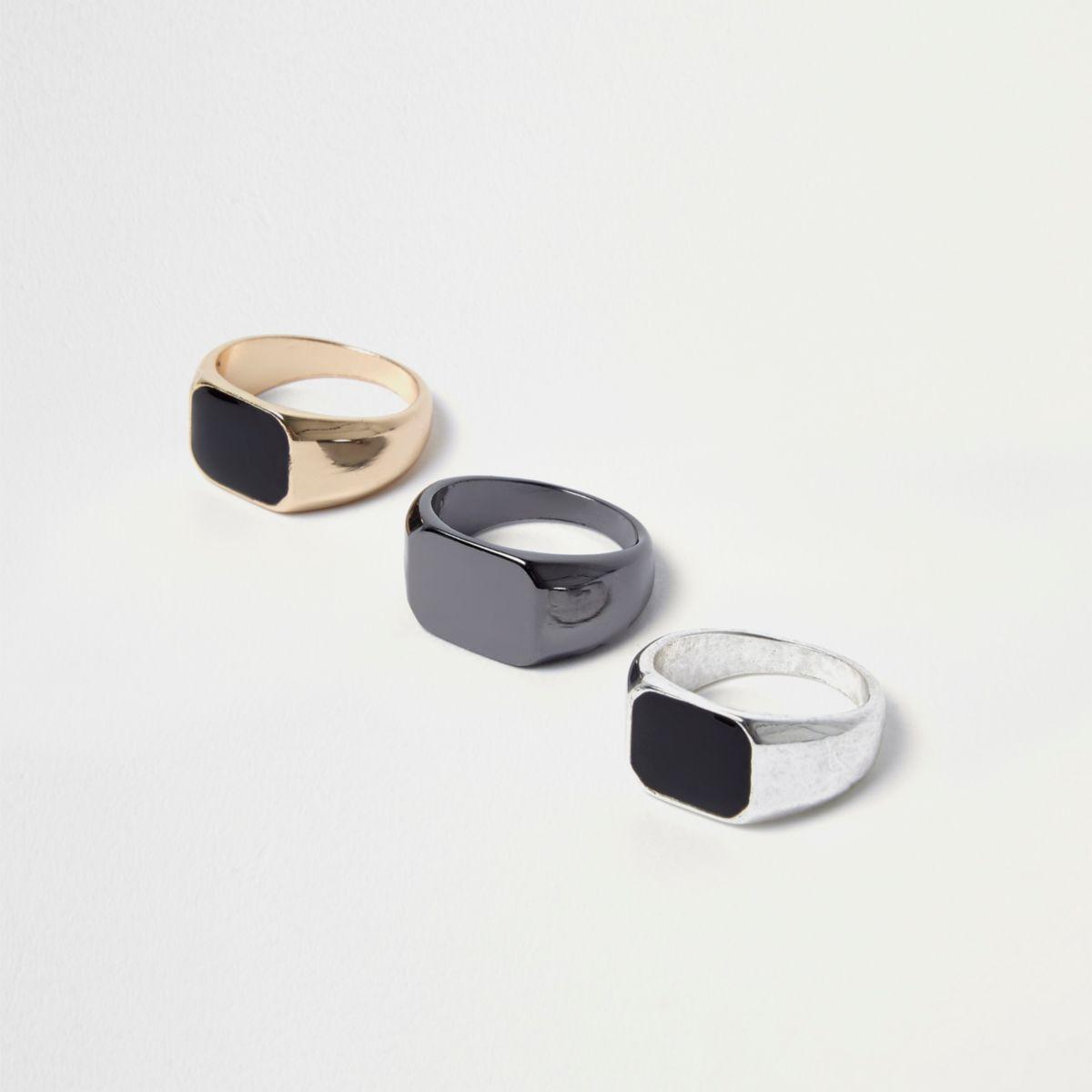 Black flat square top ring multipack