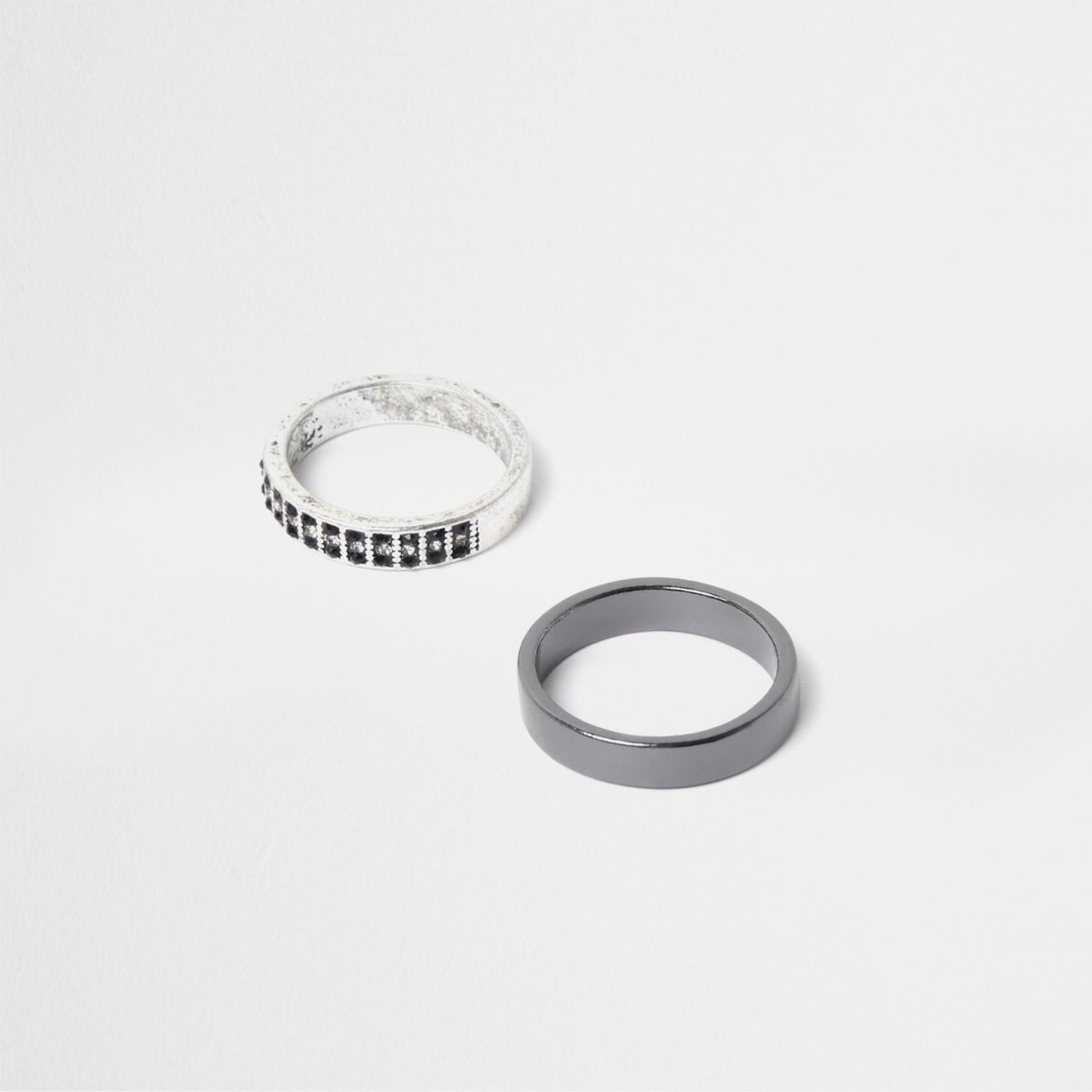 Silver tone embellished ring pack