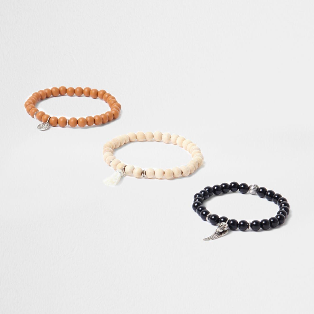 Black wooden bead embellished bracelet pack