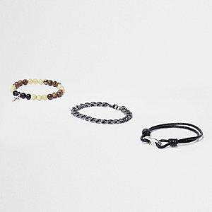 Lot de bracelets à perles en chaîne et noir