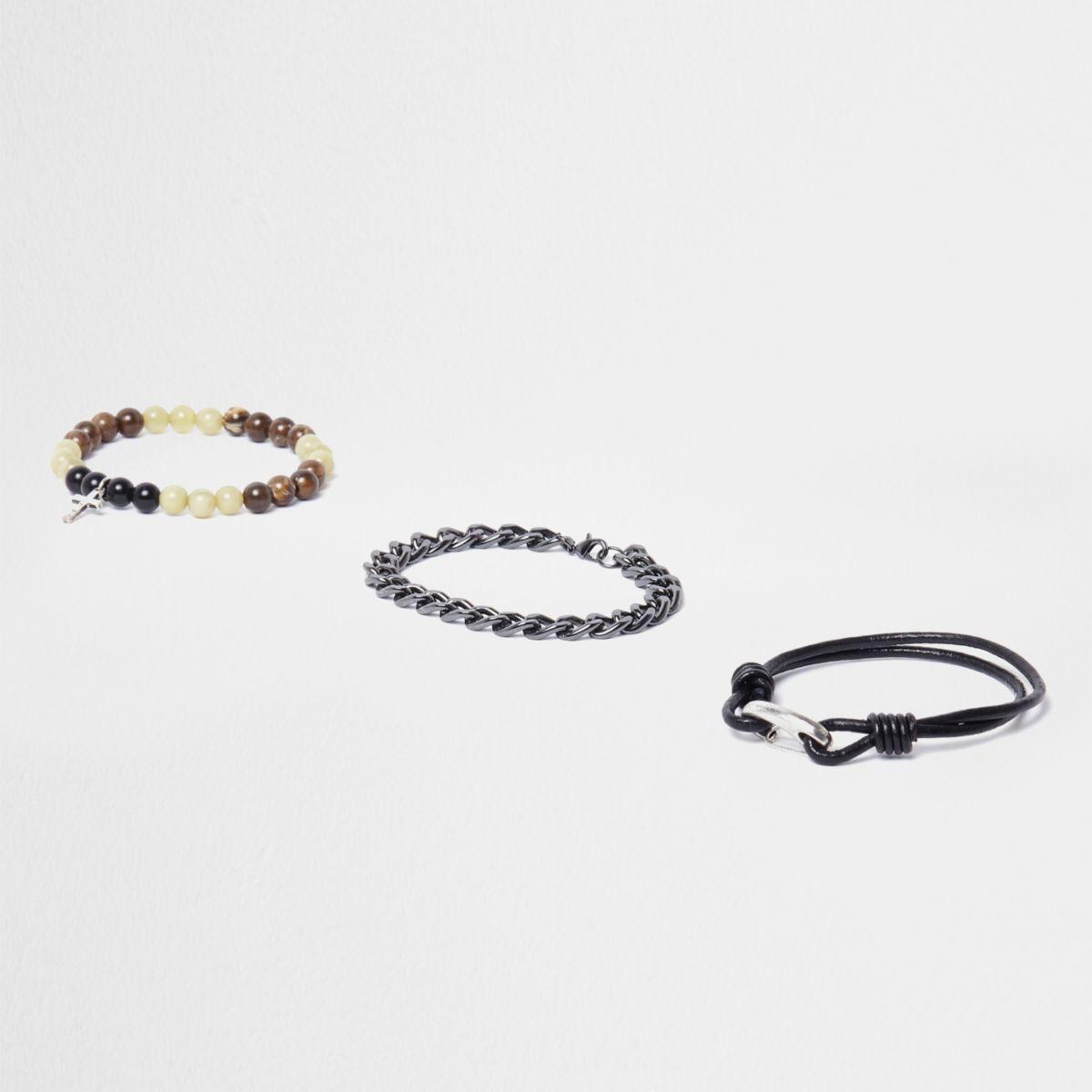 Schwarze Armbänder mit Perlen und Kette, Set