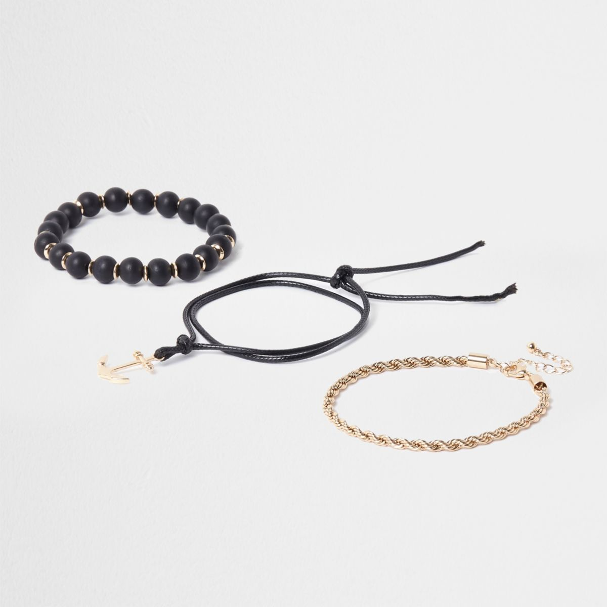 Black bead and gold tone bracelet pack