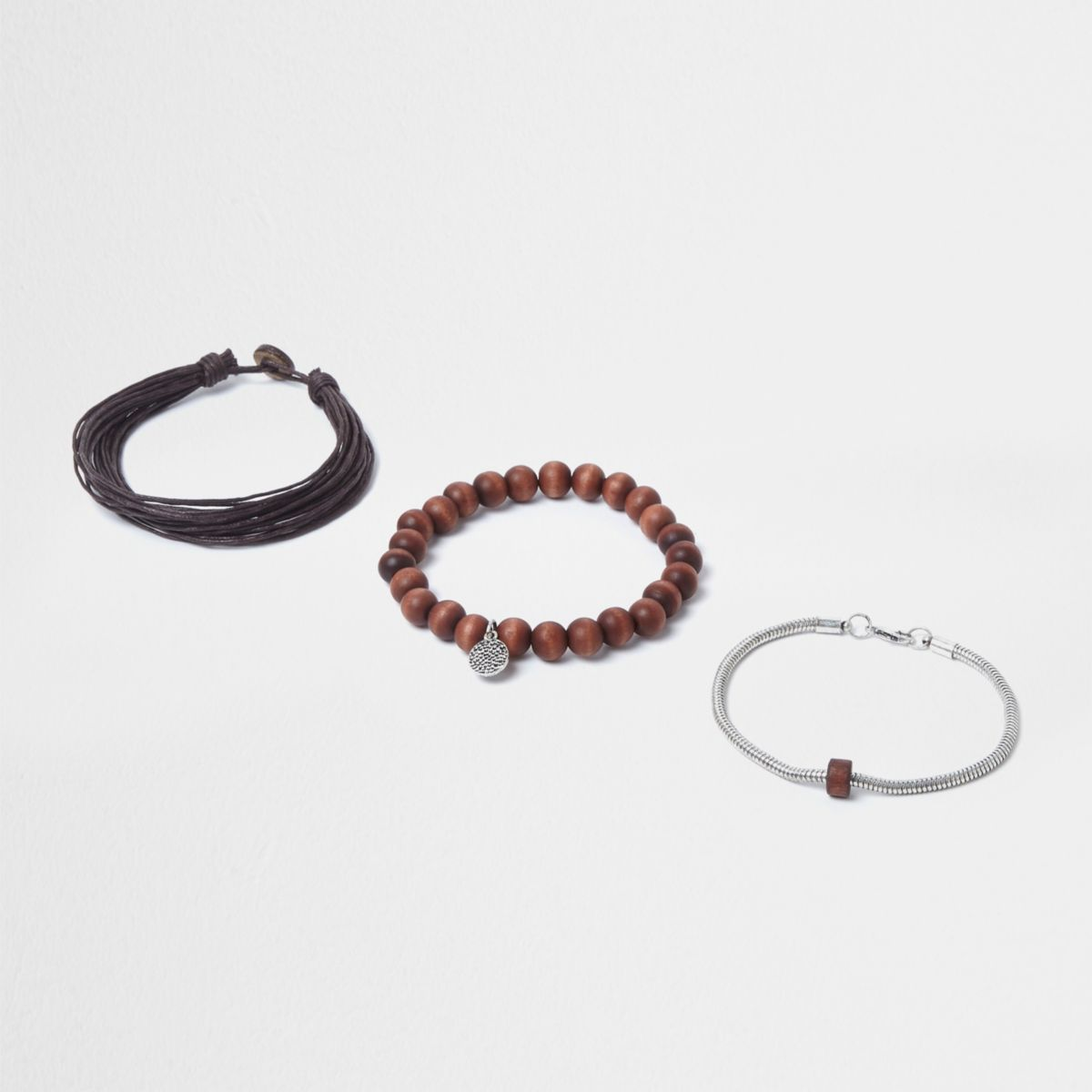 Brown wooden beaded bracelet set