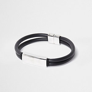 Black rubber and silver tone magnet bracelet