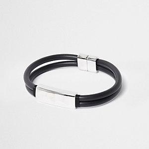 Zwarte rubberen en zilverkleurige armband