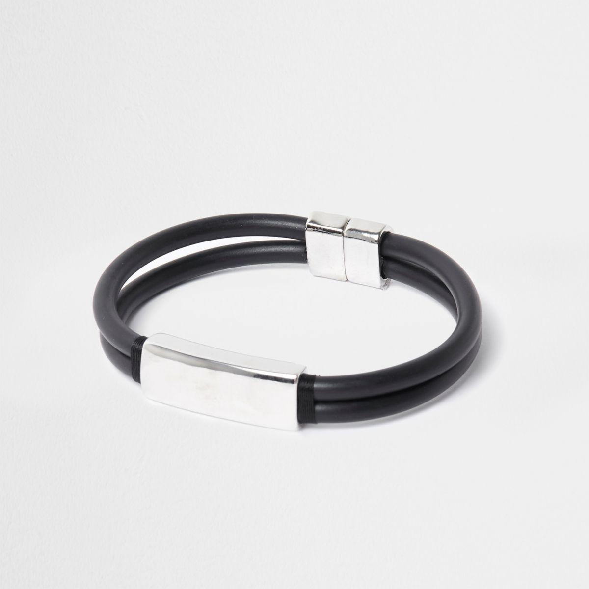 Black rubber and silver tone magnet bracelet