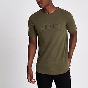 Khaki green embossed letter slim fit T-shirt