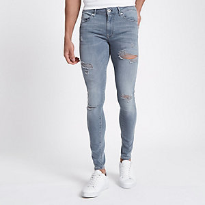 Ollie - Blauwe ripped skinny spray-on jeans