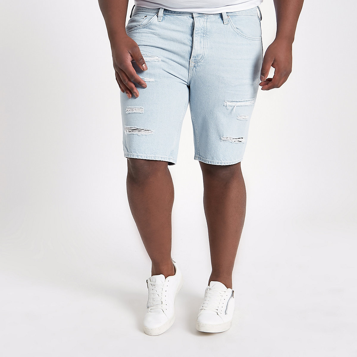 Big and Tall – Short en jean bleu clair déchiré