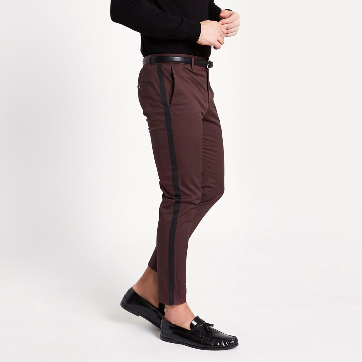 Burgundy tape side skinny fit chino trousers