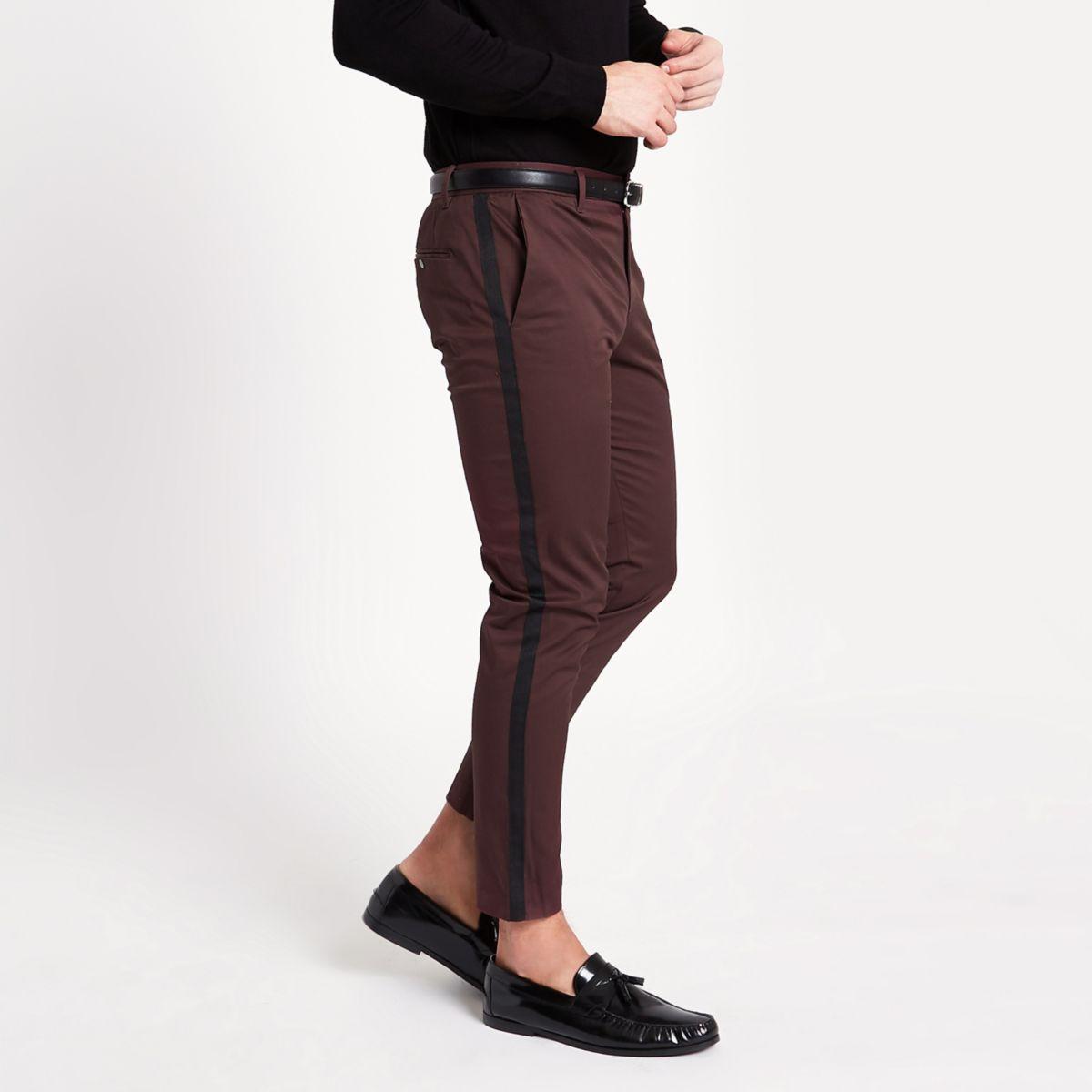 Burgundy tape side skinny fit chino pants