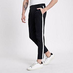 Pantalon chino skinny bleu marine avec bande latérale contrastante