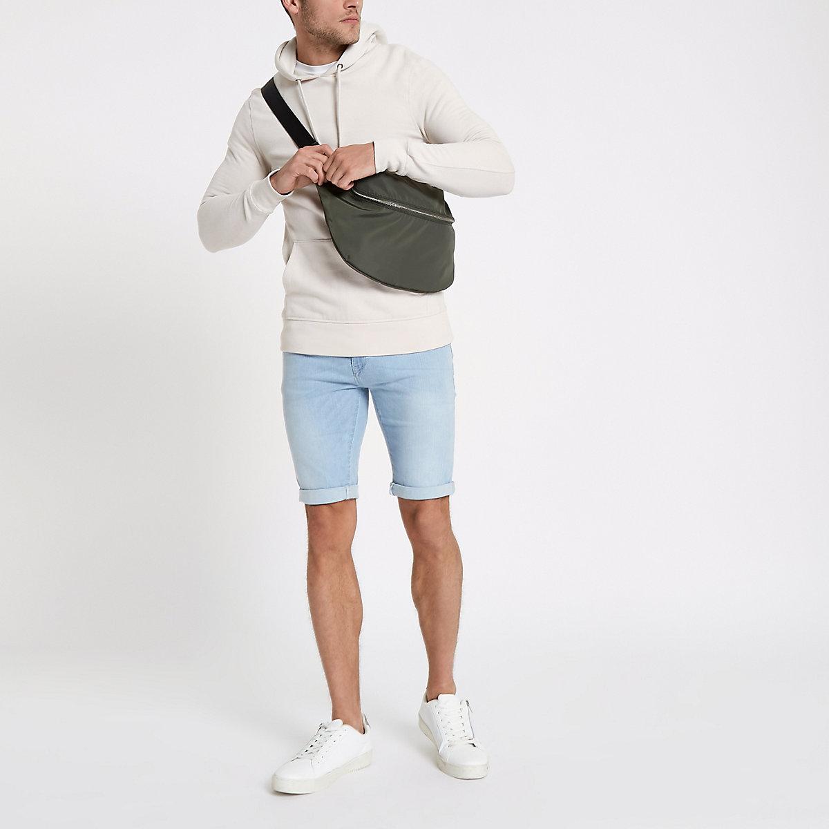 Light blue skinny fit denim shorts