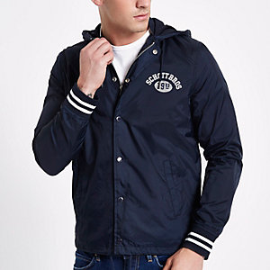 Navy Schott coach jacket