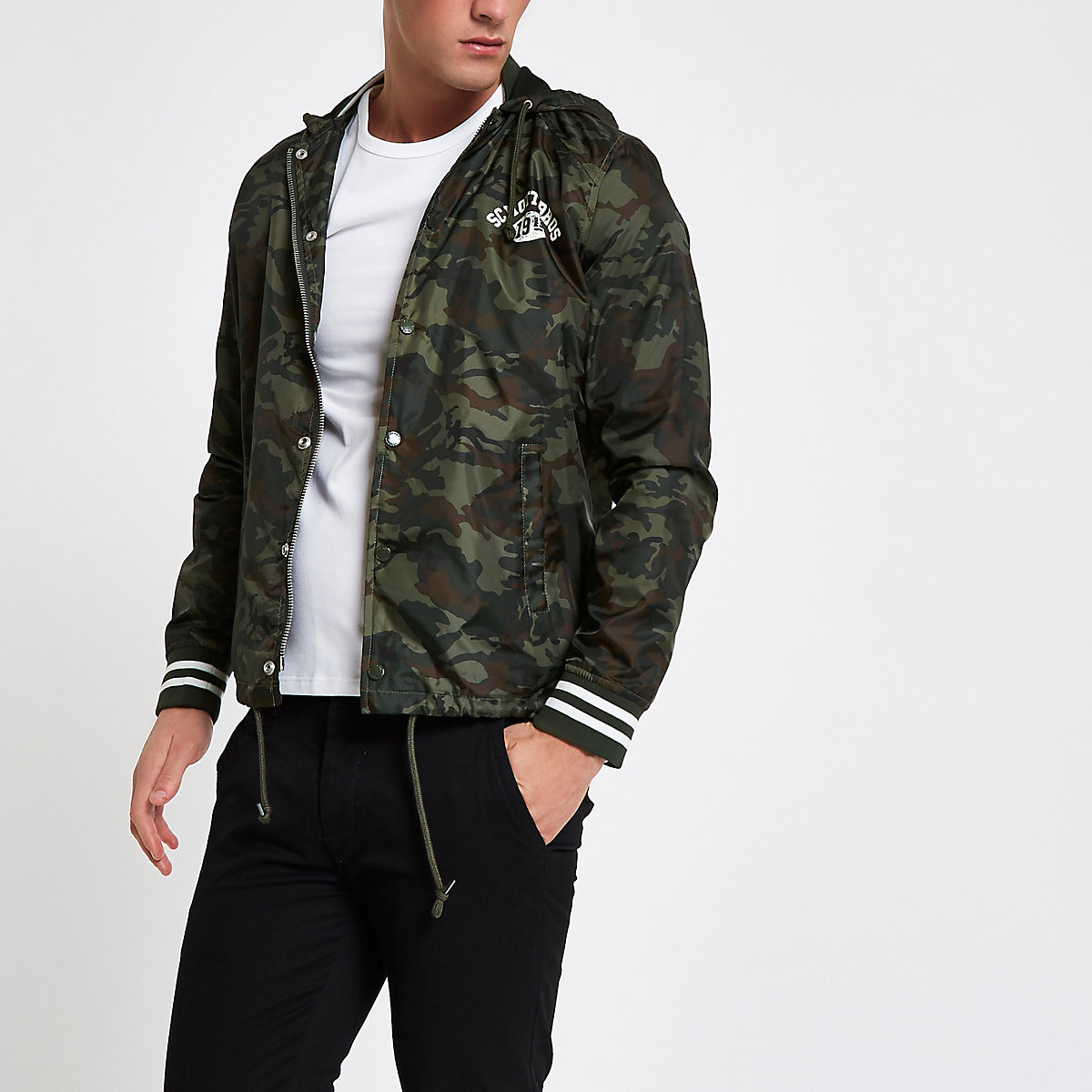 Schott khaki green coach jacket