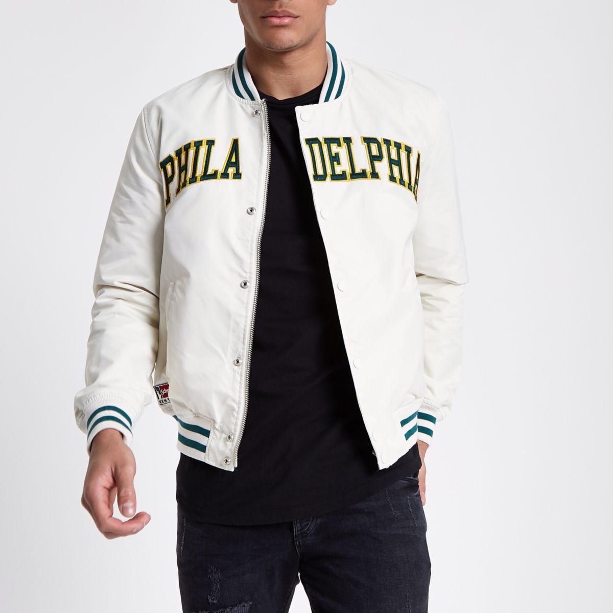 White Schott varsity bomber jacket