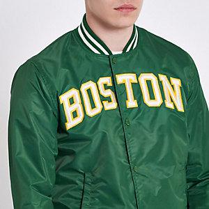 Dark green Schott varsity bomber Jacket