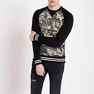 Schott dark green camouflage print sweatshirt