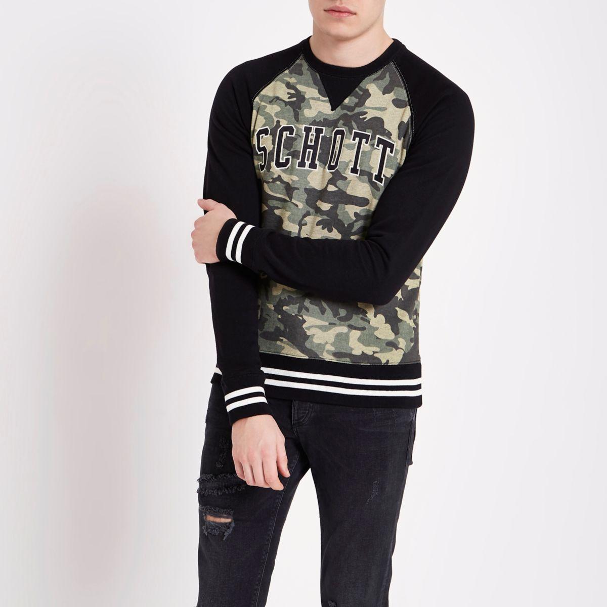Dark green Schott camouflage sweatshirt
