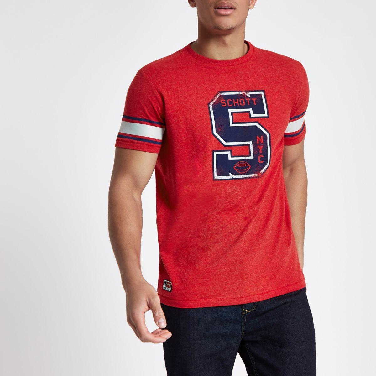 Red Schott print baseball T-shirt