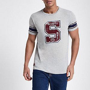 Schott – T-shirt imprimé gris style baseball