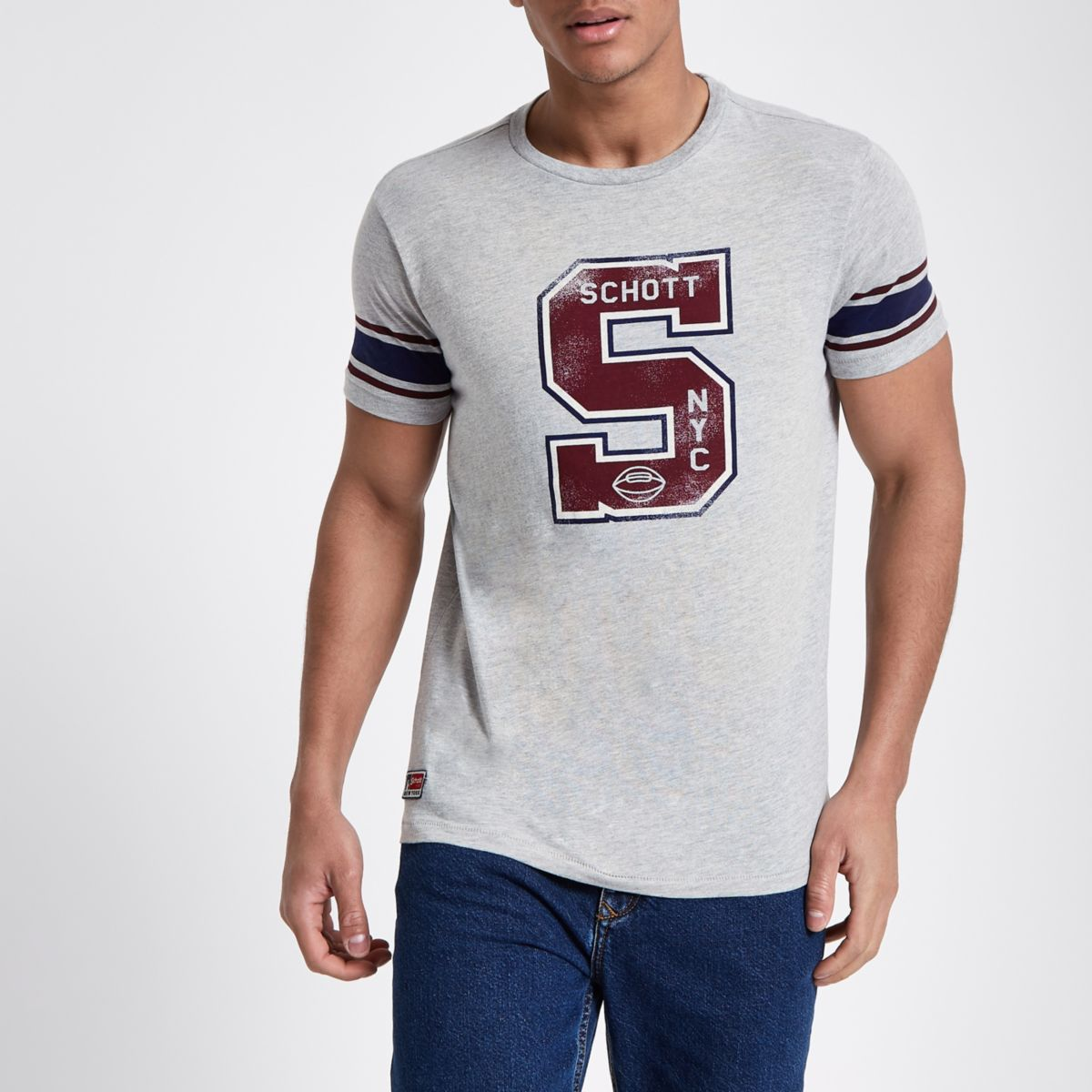Schott grey print baseball T-shirt