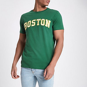 Schott - Groen T-shirt met 'Boston'-print