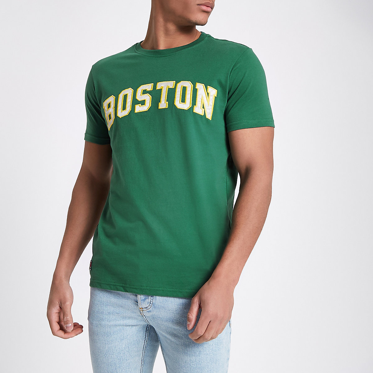 Schott green 'Boston' print T-shirt