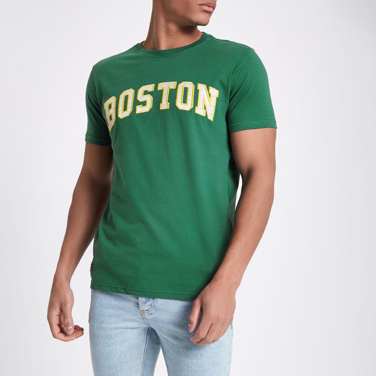 Schott – T-shirt à imprimé « Boston » vert